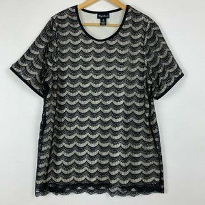 Maggie Barnes 0X 16W Black Lace Overlay Top Shirt